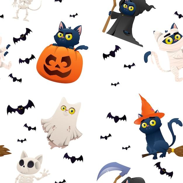 Backgraund di halloween con i gatti dei personaggi Vettore Premium