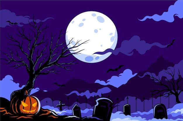 Design piatto di sfondo di halloween Vettore Premium