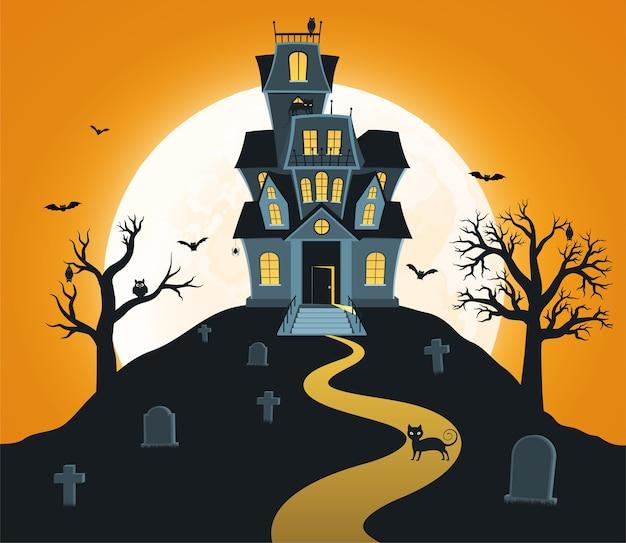 Sfondo di halloween con castello e luna piena, tombe, alberi, pipistrelli. Vettore Premium