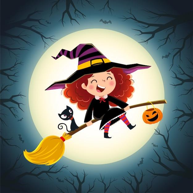 Sfondo di halloween con strega bambina carina e gattino che volano su una scopa. Vettore Premium
