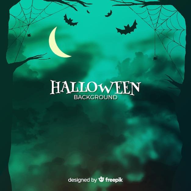 Sfondo di halloween con foresta e pipistrelli Vettore Premium