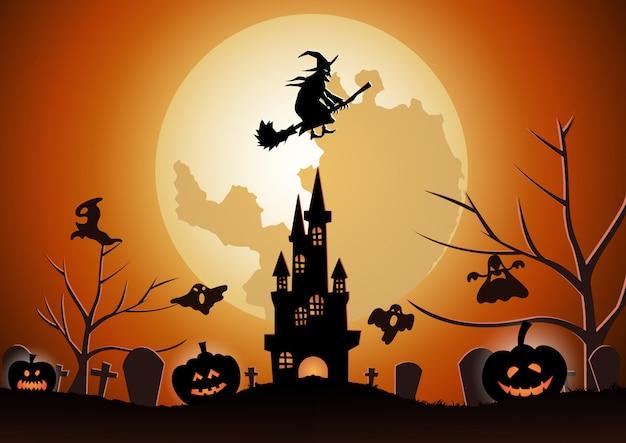 Sfondo di halloween con la strega vola con la scopa magica Vettore Premium