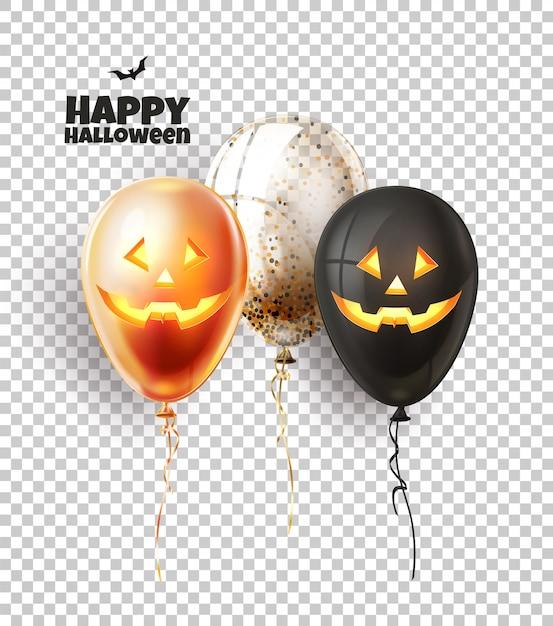 Pallone di halloween con facce spaventose e spettrali. dolcetto o scherzetto, jack o faccia di lanterna a palloncini realistici. Vettore Premium
