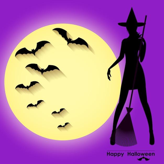 Modello di carta di halloween con ragazza strega in piedi sullo sfondo del cielo viola, luna piena e pipistrelli Vettore Premium