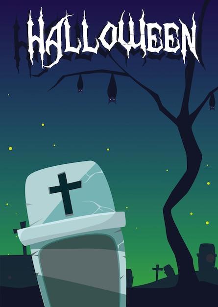 Carta di halloween con scena del cimitero di notte Vettore Premium