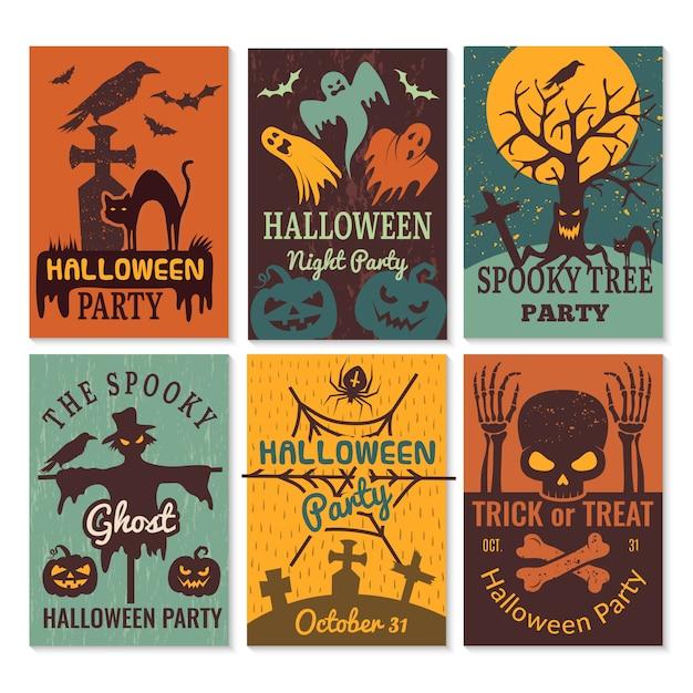 Carte di halloween. invito di biglietti d'auguri al modello di progettazione del partito di halloween del male spaventoso horror Vettore Premium