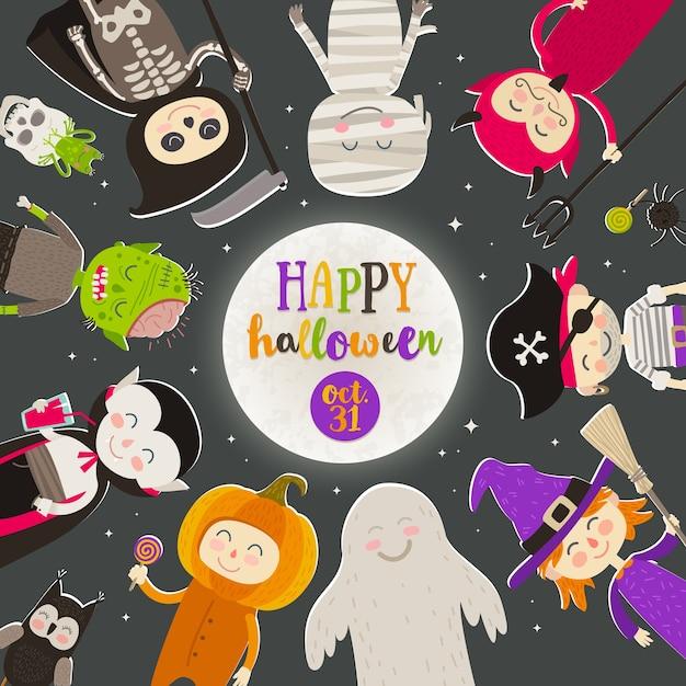 Personaggi dei cartoni animati di halloween contro un cielo notturno stellato. i bambini in costume di halloween stanno in cerchio contro una grande luna con il saluto. illustrazione. Vettore Premium
