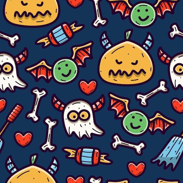 Reticolo senza giunte di doodle del fumetto di halloween Vettore Premium