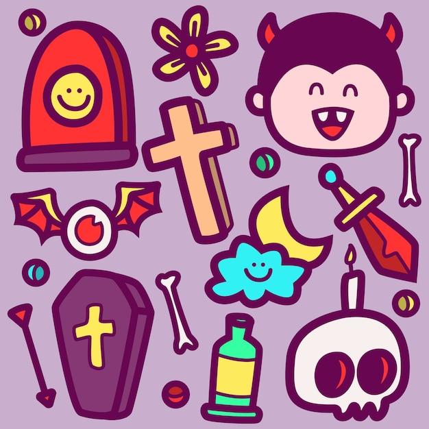 Doodle del fumetto di halloween Vettore Premium