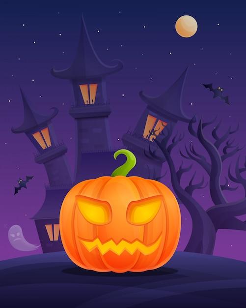 Manifesto del fumetto di halloween con la zucca sul castello di notte Vettore Premium