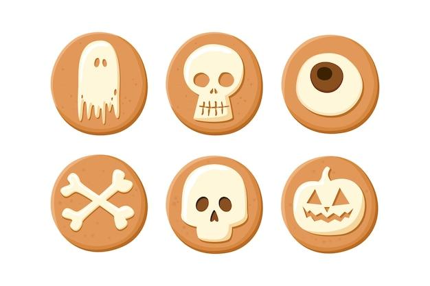 Biscotti di halloween su sfondo bianco. Vettore Premium
