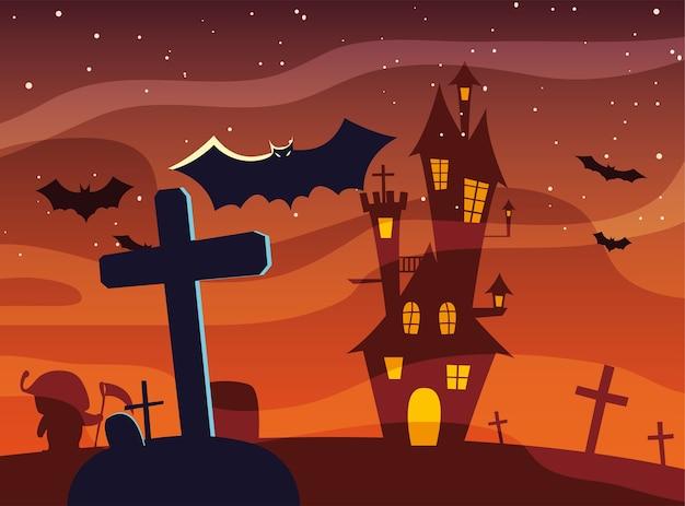 Tomba trasversale di halloween davanti al disegno del castello Vettore Premium