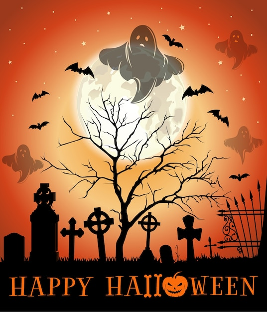 Disegno di halloween. biglietto di auguri di halloween con cimitero infestato. illustrazione Vettore Premium