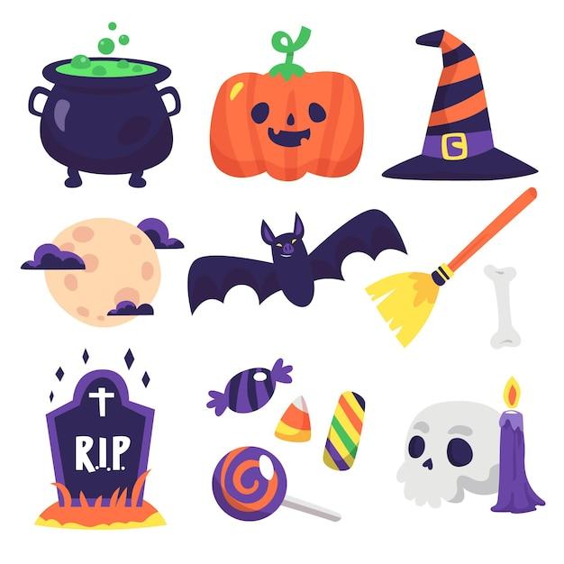 Disegna la raccolta dell'elemento di halloween Vettore Premium