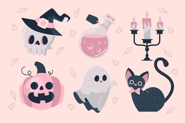Design piatto di raccolta di elementi di halloween Vettore Premium