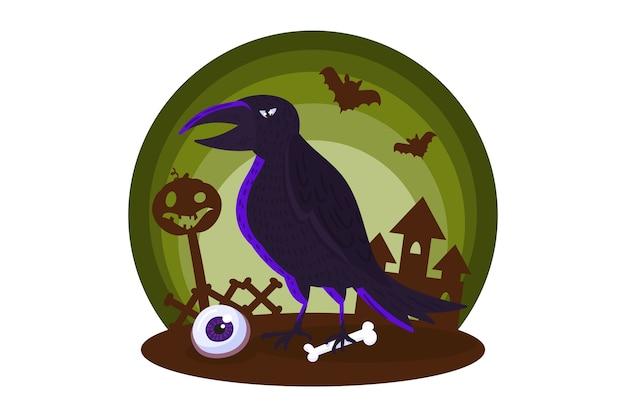 Elemento di halloween con il corvo misterioso. Vettore Premium