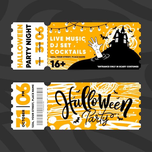 Biglietti per il festival di halloween Vettore Premium