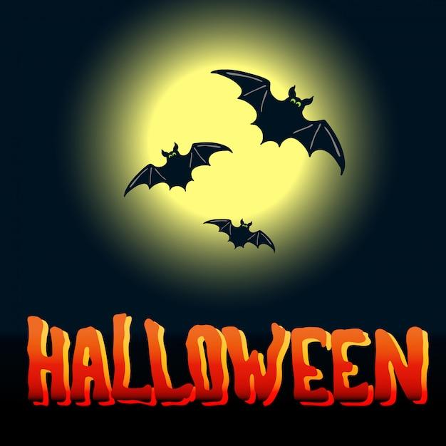 Volantino di halloween con pipistrelli volanti e luna piena su sfondo di mezzanotte Vettore Premium