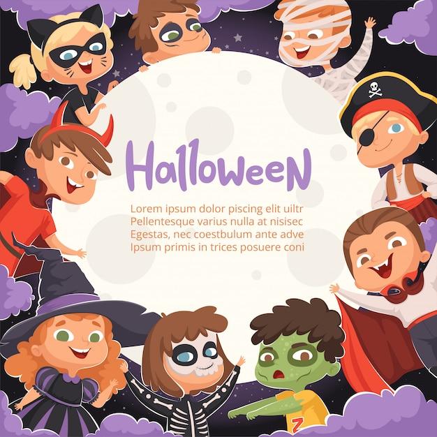 Cornice di halloween. priorità bassa spaventosa del fumetto con i bambini nell'invito felice del partito dei costumi di halloween Vettore Premium