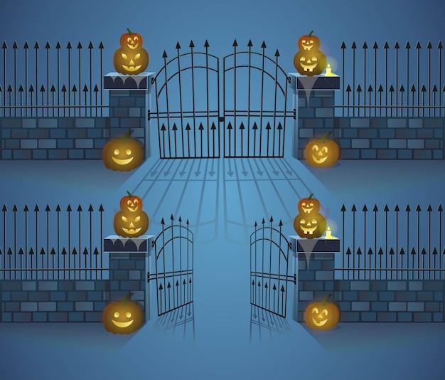 Cancelli di halloween. cancelli aperti e chiusi con zucche. illustrazione di vettore di stile del fumetto. Vettore Premium