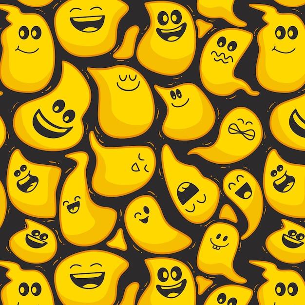 Modello di modello di emoticon distorto felice di halloween Vettore Premium