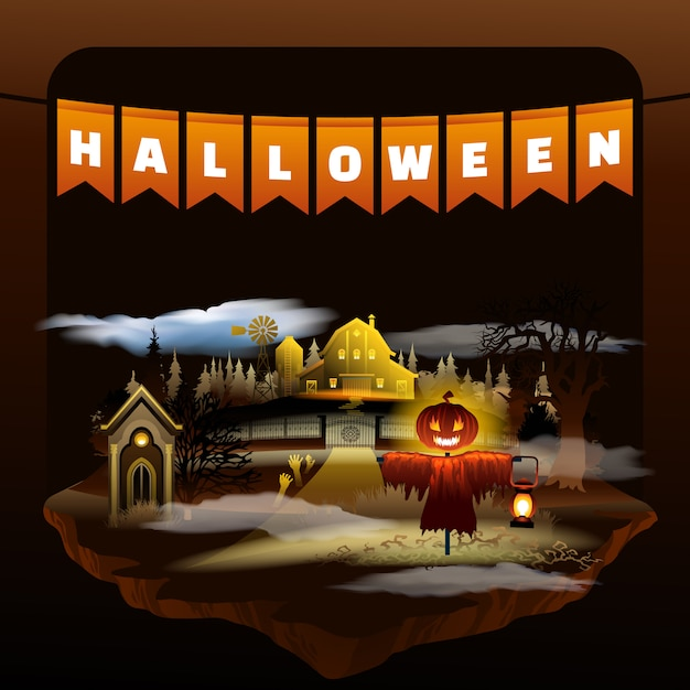 Festa di halloween. cupo scena piatta dei cartoni animati Vettore Premium
