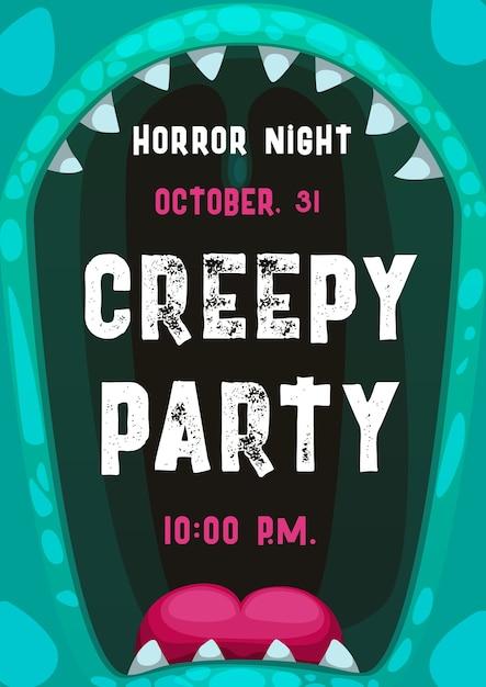 Manifesto del partito di notte di orrore di halloween con cornice di bocca di mostro urlante Vettore Premium