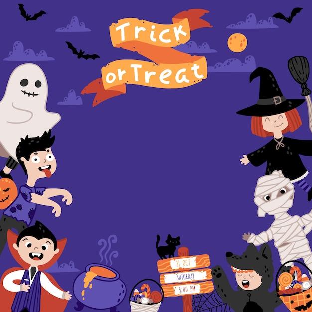 Modello di invito di halloween per bambini festa in costume. un gruppo di ragazzi in vari costumi. sfondo del cielo notturno. illustrazione infantile carina in stile cartone animato disegnato a mano. lettering dolcetto o scherzetto. Vettore Premium