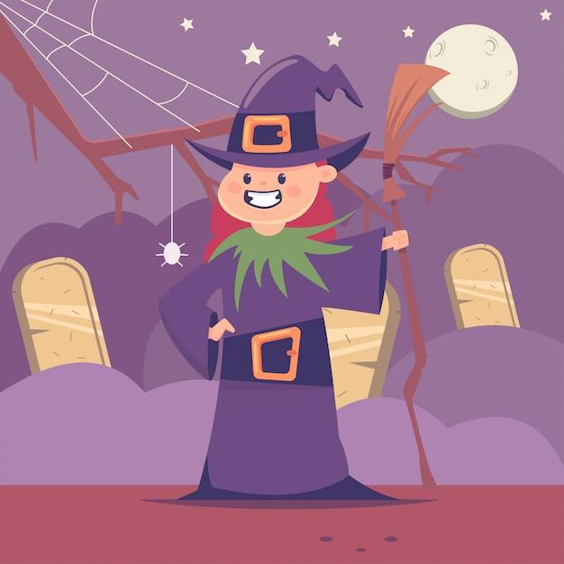 Costume di halloween per bambini da strega carina con scopa nel cimitero e la luna. carattere piatto del fumetto di vettore della ragazza per vacanze e feste. Vettore Premium