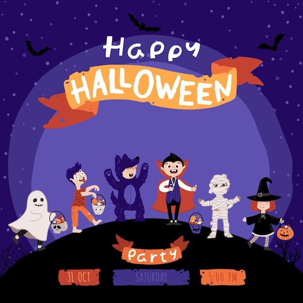Invito a una festa in costume per bambini di halloween. un gruppo di ragazzi in vari costumi per la festa. sfondo del cielo notturno. illustrazione infantile carina in stile cartone animato disegnato a mano. lettering. Vettore Premium