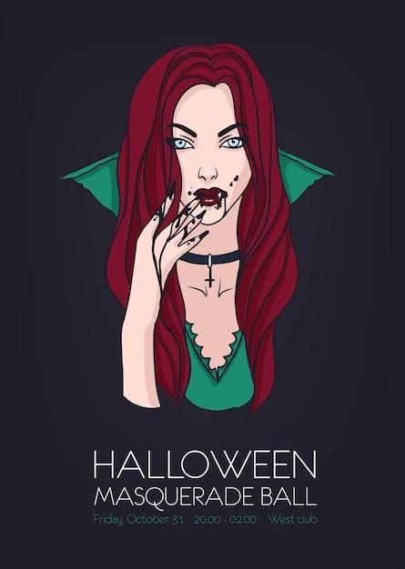 Festa di ballo in maschera di halloween, modello di evento poster con bella donna vampiro Vettore Premium