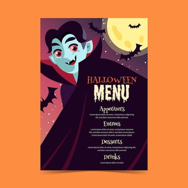 Design piatto del modello di menu di halloween Vettore Premium
