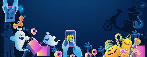 Halloween sul cellulare. felice banner di halloween. sfondo di halloween con la notte nel cimitero Vettore Premium