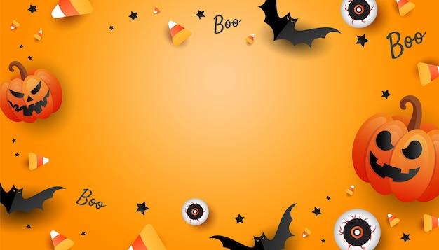 Cornice di design mockup di halloween con zucca, caramelle colorate, grande occhio, pipistrelli su sfondo arancione. poster di vacanza orizzontale, intestazione per sito web. vista piana laico e superiore con lo spazio della copia Vettore Premium