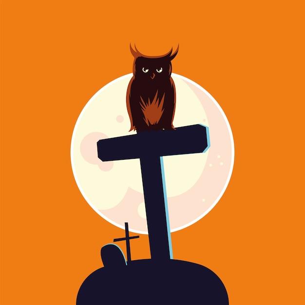 Fumetto del gufo di halloween sulla tomba davanti al disegno della luna Vettore Premium