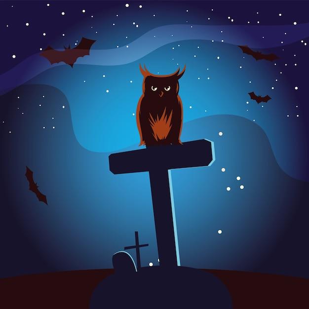 Fumetto del gufo di halloween sulla tomba con design di pipistrelli, vacanza e tema spaventoso Vettore Premium