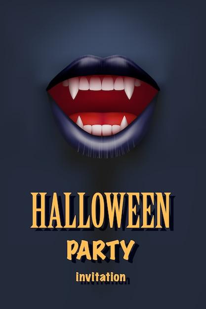 Invito alla festa di halloween con labbra rosse aperte bocca vampiro e denti lunghi. tema scuro. . Vettore Premium