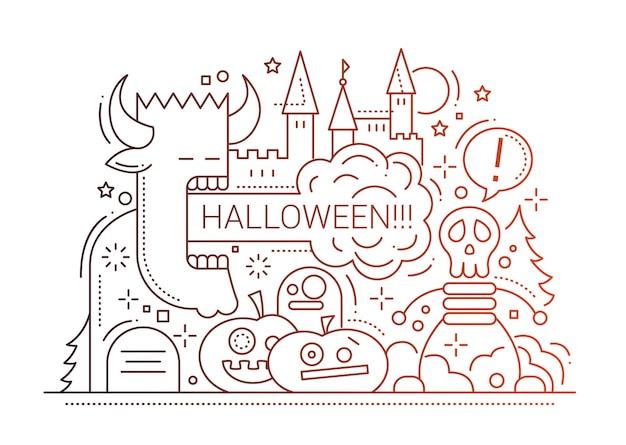 Illustrazione di disegno di linea semplice festa di halloween con simboli di vacanze Vettore Premium