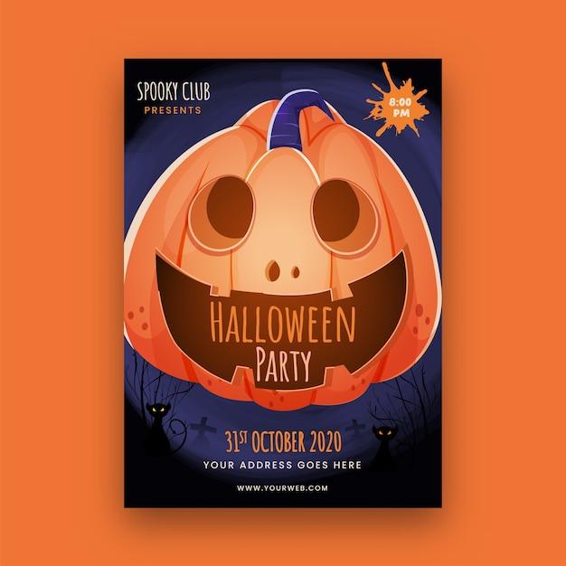 Modello di festa di halloween o volantino con zucca spettrale e dettagli del luogo. Vettore Premium
