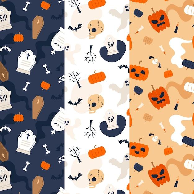 Modelli di halloween in design piatto Vettore Premium