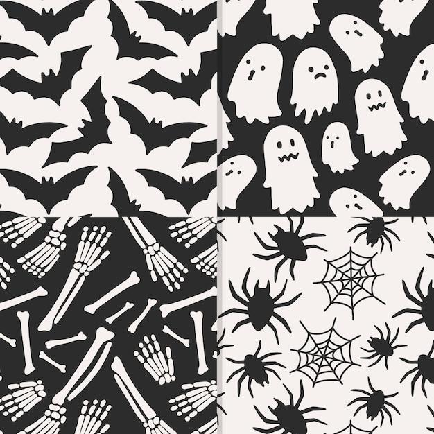 Disegno disegnato a mano di modelli di halloween Vettore Premium