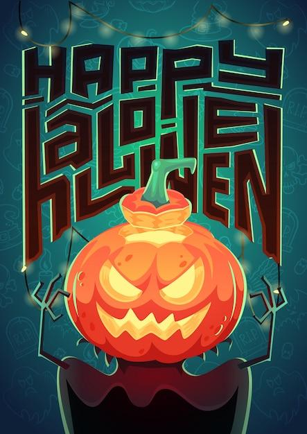 Poster di halloween illustrazione Vettore Premium