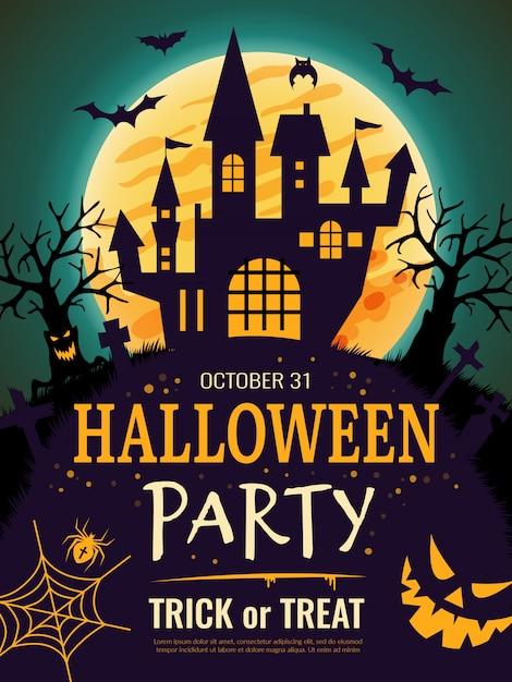 Poster di halloween. modello di volantino di invito a una festa spaventosa con sfondo di halloween del cranio di ossa di zucca di simboli di orrore Vettore Premium
