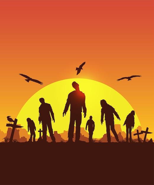 Manifesto di halloween, silhouette di zombie che camminano, illustrazione Vettore Premium