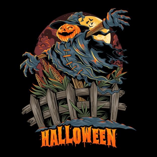 Spaventapasseri dalla testa di zucca di halloween, sembra spettrale e colorato. strati modificabili grafica Vettore Premium