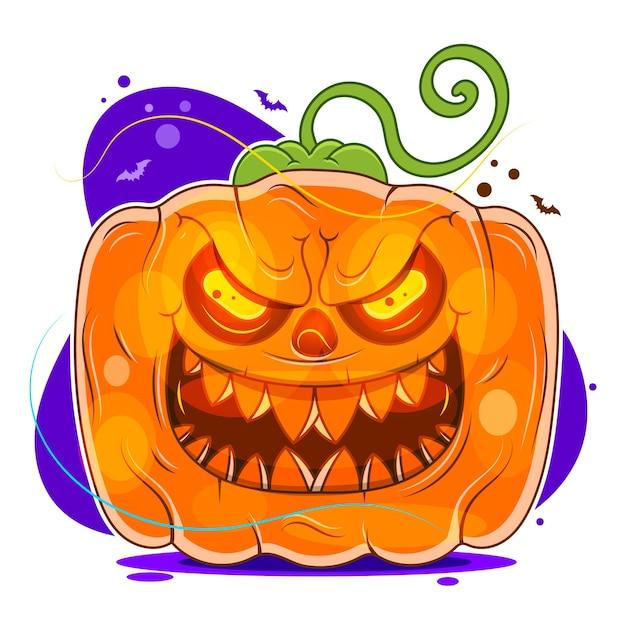 Zucca di halloween con la faccia spaventosa su priorità bassa bianca Vettore Premium