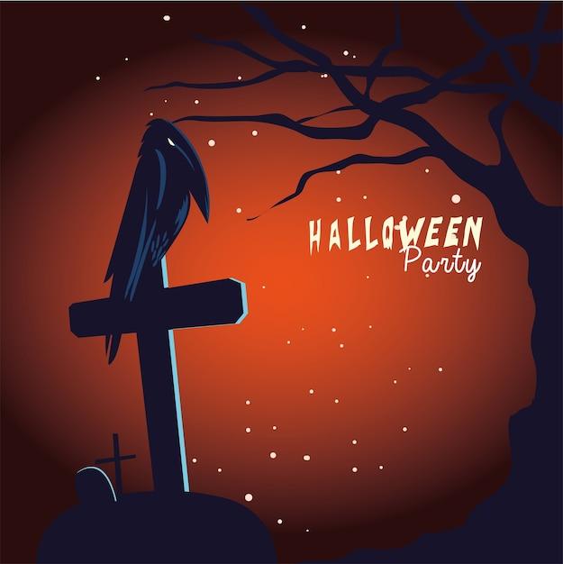 Fumetto del corvo di halloween sulla tomba e sul disegno dell'albero Vettore Premium