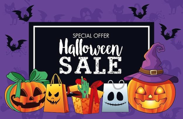 Manifesto stagionale di vendita di halloween con la mano della morte che esce dal regalo e dalle zucche Vettore Premium