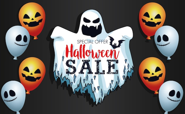 Manifesto stagionale di vendita di halloween con fantasma e palloncini elio Vettore Premium