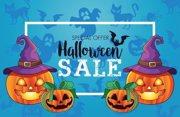 Manifesto stagionale di vendita di halloween con zucche di gruppo Vettore Premium